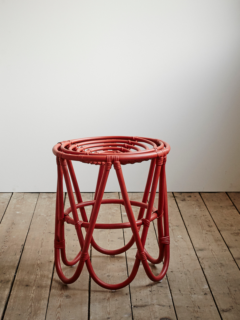Rattan Paperclip Stool - Red