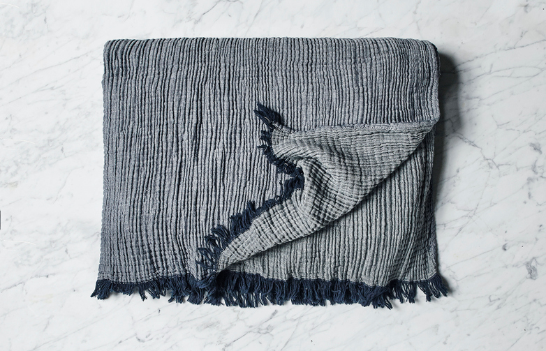 Crinkle Throw Navy